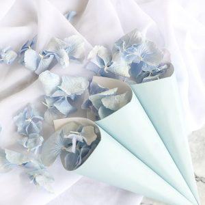 Freeze Dried Sky Blue Hydrangea with Blue Confetti Cones