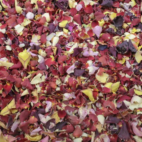 Crushed multicolour rose petals