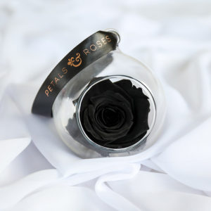 Petals & Roses preserved Black rose bauble with luxury ribbon
