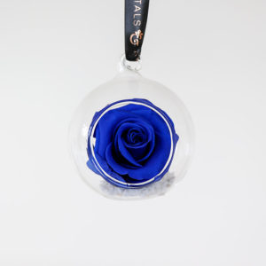 Luxury preserved blue rose bauble