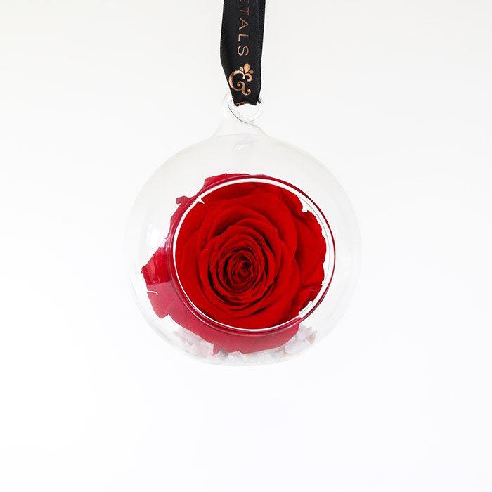 Timeless everlasting red preserved rose glass bauble with luxury black ribbon with rose gold detail to hand on your Christmas Tree