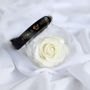 Timeless everlasting white rose bauble with black and rose gold ribbon