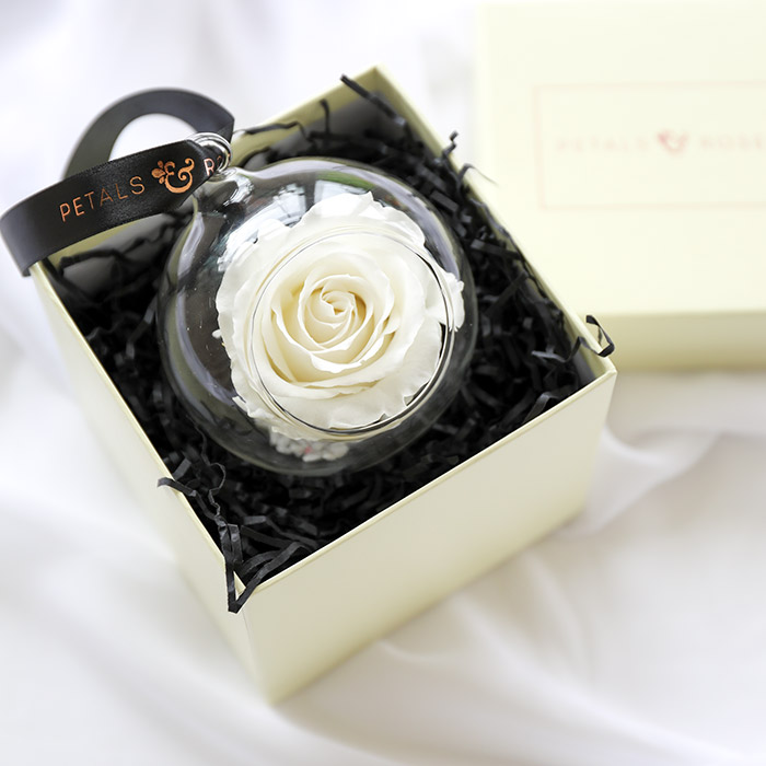 Timeless everlasting white rose bauble in luxury cream gift box