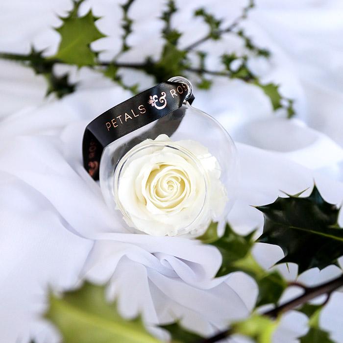 Timeless everlasting white rose bauble