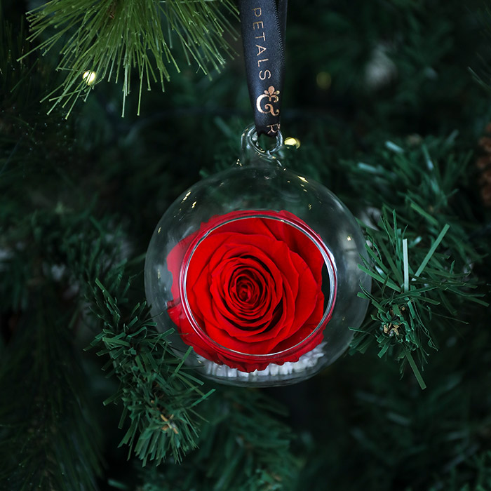 Brand New Christmas Hanging Rose Baubles