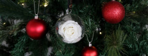 Christmas Gift - Timeless White Rose Bauble for your festival tree