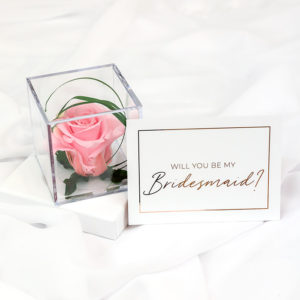 Bridesmaid Proposal Rose Cube and Foil Gift Card