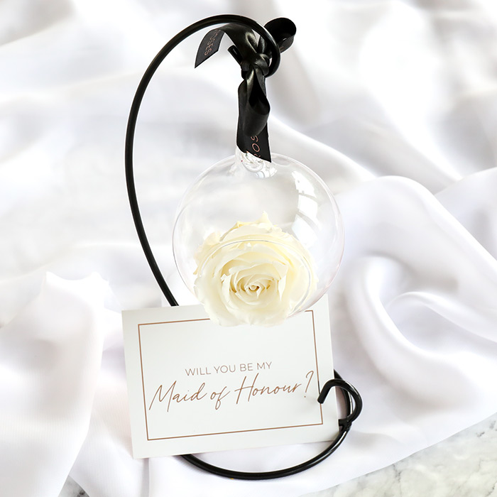 Maid of Honour Proposal Hanging Rose with Stand Gift