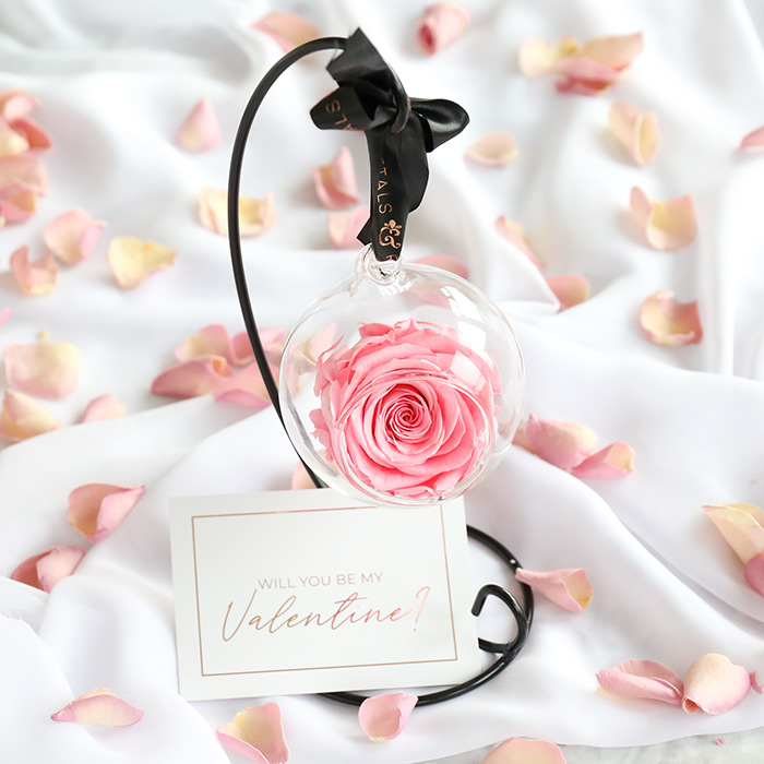 Valentine's Hanging Rose with Stand Gift Set